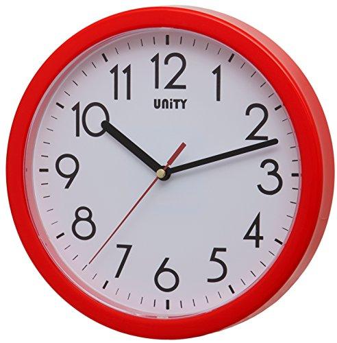 orologio da parete rosso Unity Hastings Silent Sweep-Orologio da Parete Moderno