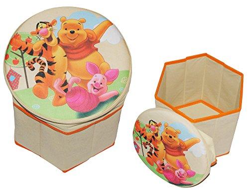 alles-meine.de GmbH 2 in 1: Aufbewahrungsbox + Hocker - Disney Winnie The Pooh aus Stoff - für Kinder - Pop Up Box Jungen Mädchen - Kiste Tonne Kinderhocker mit Stauraum