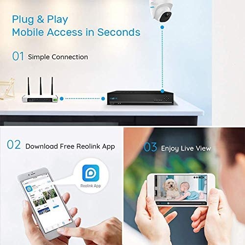 Reolink 8CH 5MP PoE Home Security Camera System, 4pcs Wired 5MP Outdoor PoE IP Cameras, 8MP/4K 8-Channel NVR Security System with 2TB HDD for 24/7 Recording, RLK8-520D4-5MP