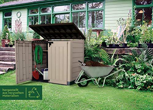 Keter Store-It Out Max Outdoor Plastic Garden Storage Shed, Beige and Brown, 145.5 x 82 x 125 cm (L x H x W) Garden Storage & Housing