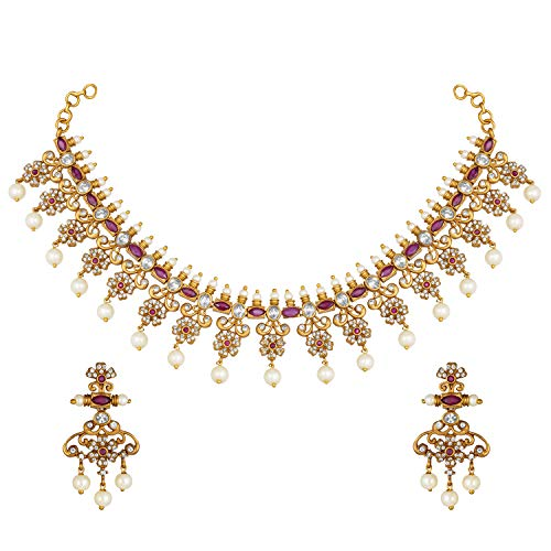 Aheli Beautifully Floral Design Crafted South Indian Style Faux Stone Studded Necklace Set Ethnic Wedding Wear Bollywood Fashion Jewelry for Women
