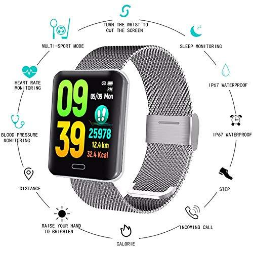 PNYGJZNSB Grote Bluetooth smart-armband, waterdicht ip67 fitnesstracker hartslagmeter Ossigen-monitor, print voor Android iOS, Steel strip