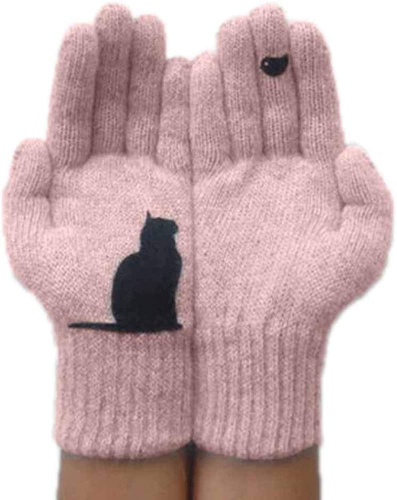 Katze Vogel Print Handschuhe stricken Frauen warm halten f/ür Outdoor Radfahren Klettern