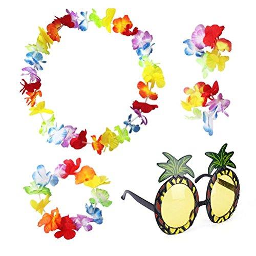 SevenMye Hawaiianisches Set, Leis-Blumengirlande, Kostüm mit Ananas-Sonnenbrille, 5-teilig