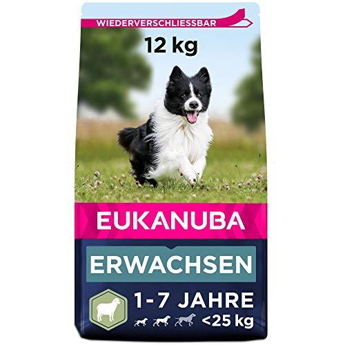 Eukanuba Hundefutter für ausgewachsene Hunde kleiner und mittelgroßer Rassen – Trockenfutter mit Lamm & Reis