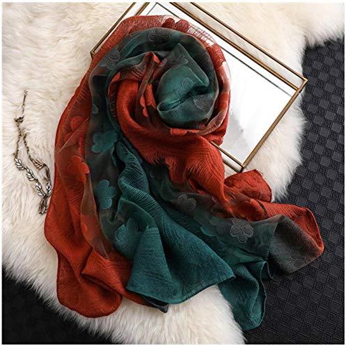 Bufanda Moda Mujer Corte Flores Hollow Lace Gradient Seda Bufanda Primavera Chales Y Wraps ToallaPlaya E