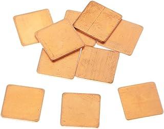Homyl 10 Lot IC Chipset GPU CPU Heatsink Thermal Pad Set Kit 0.6x0.6x0.05inch, Copper, for PC Computer Component