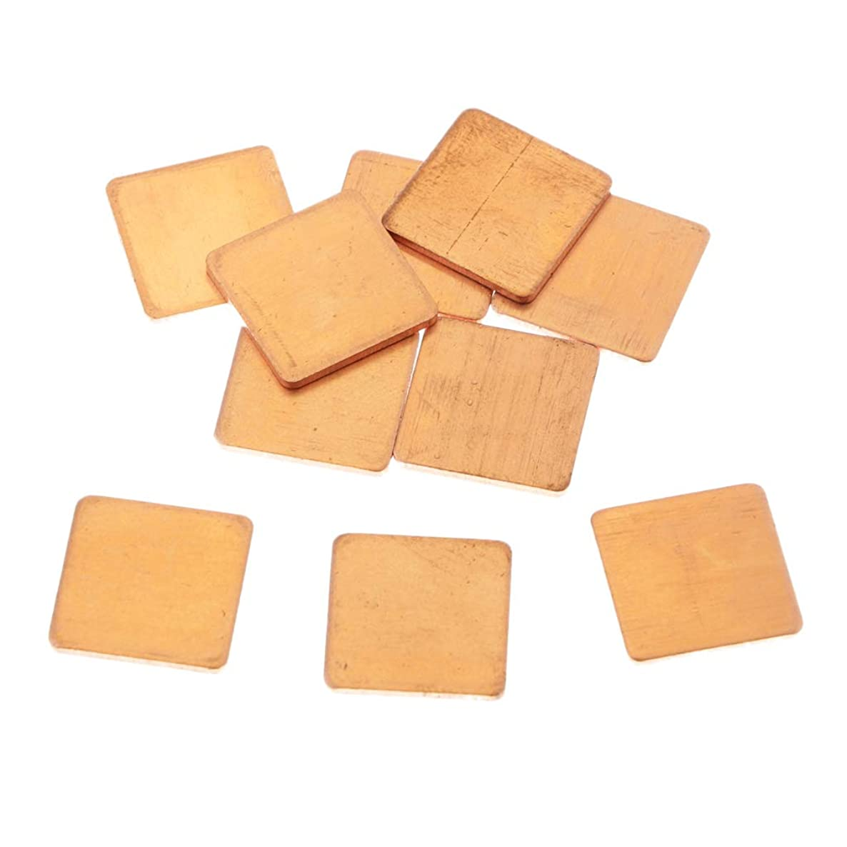 Homyl 10 Lot IC Chipset GPU CPU Heatsink Thermal Pad Set Kit 0.6x0.6x0.05inch, Copper, for PC Computer Component