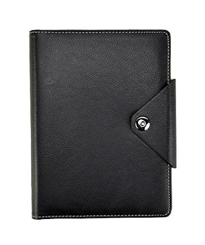 Arpan A5 Executive Personal Organizer, liniert, Notizbuch, gepolsterter Ledereinband mit Druckknopfverschluss (schwarz)