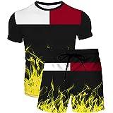 YaNanHome Hombre Traje Deportivo Manga Corta Cuello Redondo Casual Color Sólido Camiseta y Cordón Pantalones Cortos Deportivos Fitness Set/C/S