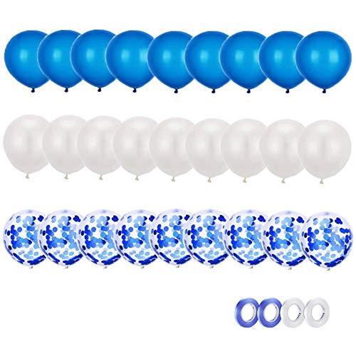 Globos de Confeti,Globos de Látex Blancos y Azules. para Niño Bautizos Comunion Baby Shower, Decoración de Bodas y Cumpleaños Fiesta,4 Accesorios para Globos.
