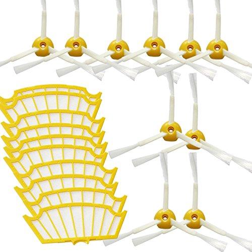 20pcs gesamt Techypro® 10 Hepa filter und 10 Kantenreinigungsbürste für iRobot roomba 500 530 550 560 Reinigungskit Wartungskit Bürsten Set