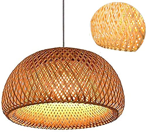 Rekaf 38 Cm Natural Bamboo And Rattan Hanging Lamp Wooden Ceiling Lamp Vintage Woven Chandelier, Wooden Lamp, Bamboo Pendant Lamp. Retro Style Lantern Chandelier, Hand-made Wicker Hand-woven Lamp
