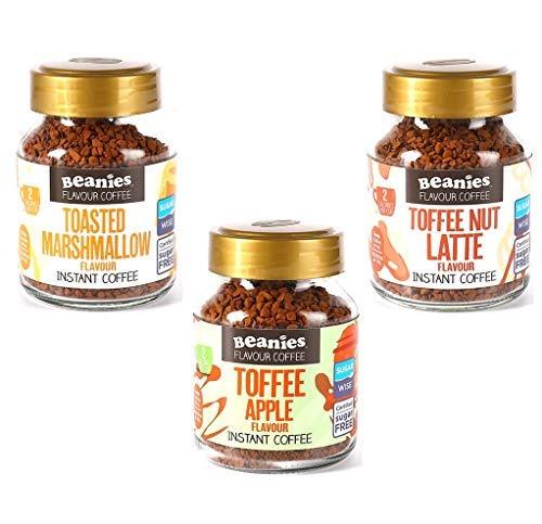 Beanies Flavoured Instant Coffee Jars: Toffee Nut Latte, Toasted Marshmallow, Toffee Apple (3 x 50g)