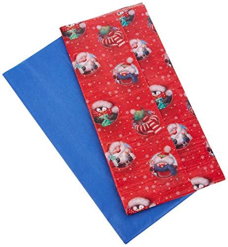 Papel de seda de Navidad – tradicional acebo y rojo, 10 hojas, 5 de cada – Tamaño 500 mm x 500 mm