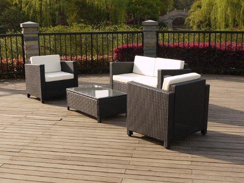 Keter/chalet et jardin ENSEMBLE BAS ATLANTA composé d'1 table + 2 fauteuils + 1 canapé