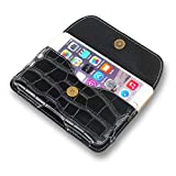 AXELENS Handy Gürteltasche Universal Horizontal Mit Gürtelschlaufe Brieftasche Eco Krokodil Leder Smartphone Bis zu 5 Zoll - Kunstleder - SCHWARZ