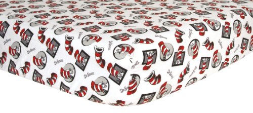 Dr. Seuss Cat in The Hat Deluxe Flannel Fitted Crib Sheet