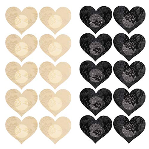 CHICTRY 10 Pairs Lace Nipple Cover Disposable Self-Adhesive Breast Petals Pasties Stickers for Women Girls Heart Shape One Size