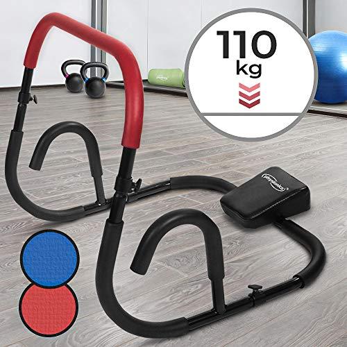 Physionics Bauchtrainer - Blau/Rot, für Sit Ups, mit Rutschfesten Griffflächen (Max. 110kg) - Ab Trainer, Roller, Bauchmuskeltrainer, Fitnessgerät (Rot)