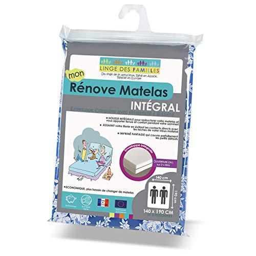 Linge des Familles - Rénove Matelas 140x190 cm - Housse intégrale zippée - Imprimé Floral - Economique & Résistant