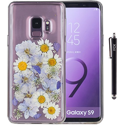 Galaxy S9 Plus Case, iYCK Handmade [Real Dried Flower and Leaf Embedded] Pressed Floral Flexible Soft Rubber Gel TPU Protective Bumper Back Case Cover for Samsung Galaxy S9 Plus - Purple White Flower
