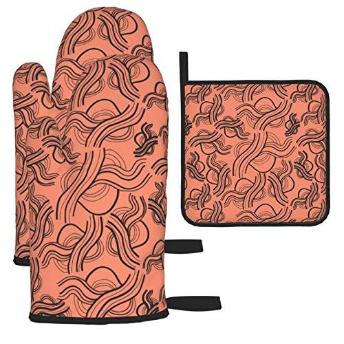 xilou Manoplas de horno resistentes al calor y soportes para ollas, patrón...