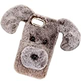 Smartisan Pro2S Art Case, Handmade Fluffy Villi Dog Baby Wool Cute Ball Nose Winter Warm Soft Cover, TAITOU Beautiful Special Big Ear Light Slim Protect Phone Case For Smartisan Pro 2S Brown