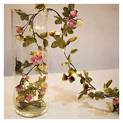 Luces de cadena de hadas de rosa LED Luces de cadena de hadas 2m 20 LED Flor de rosa de rosa artificial Guirnalda Powered Colgando alambre de cobre Guirnalda Fairy Lights para el hogar interior al air