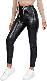 Womens High Waisted Skinny PU Leather Pants Winter Stretch Slim Zip Long Leggings Black