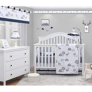 OptimaBaby Woodland 6 Piece Baby Nursery Crib Bedding Set, Forest Deer, Blue/White/Gray