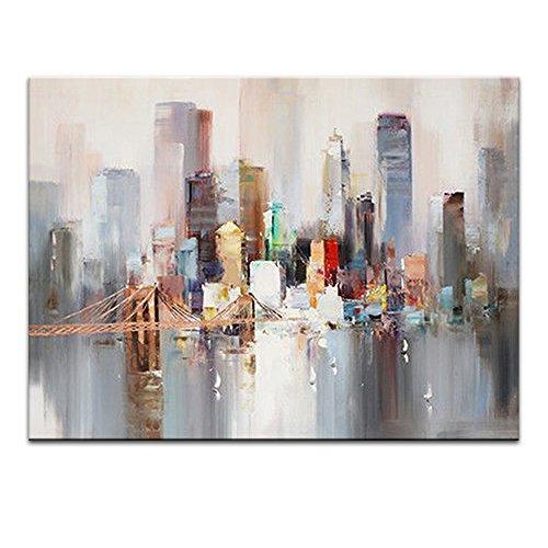 IPLST@ Moderno Astratto New York Città Pittura ad Olio Coltello Dipinto Decorazione Grande della Parete di Arte della Tela di Canapa -70cmx110 cm(Nessuna Cornice, Senza barella)