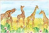 Carta Da Parati 3D Parete Sveglia Del Fondo Della Stanza Dei Bambini Della Giraffa Del Fumetto Carta Da Parati Moderna Fotomurale Muro Poster Murales Da Parete 380x256cm