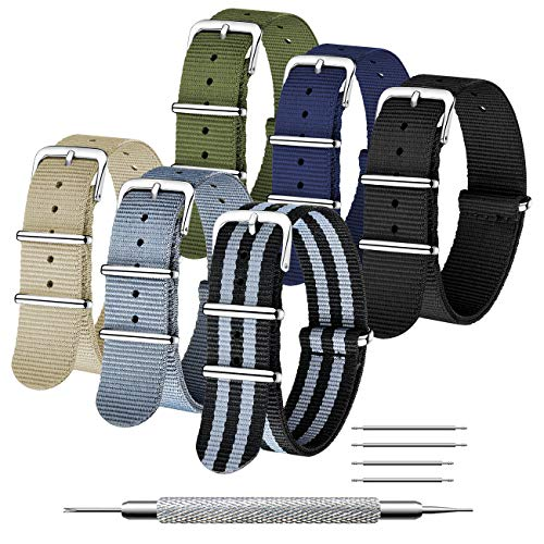 CIVO Uhrenarmbänd 6 Packungen NATO Armband 16mm 18mm 20mm 22mm 24 mm Ballistische Nylon-Uhrenarmbänder Zulu-Armbänder Edelstahlschnalle mit Federstange und Verbindungsstift