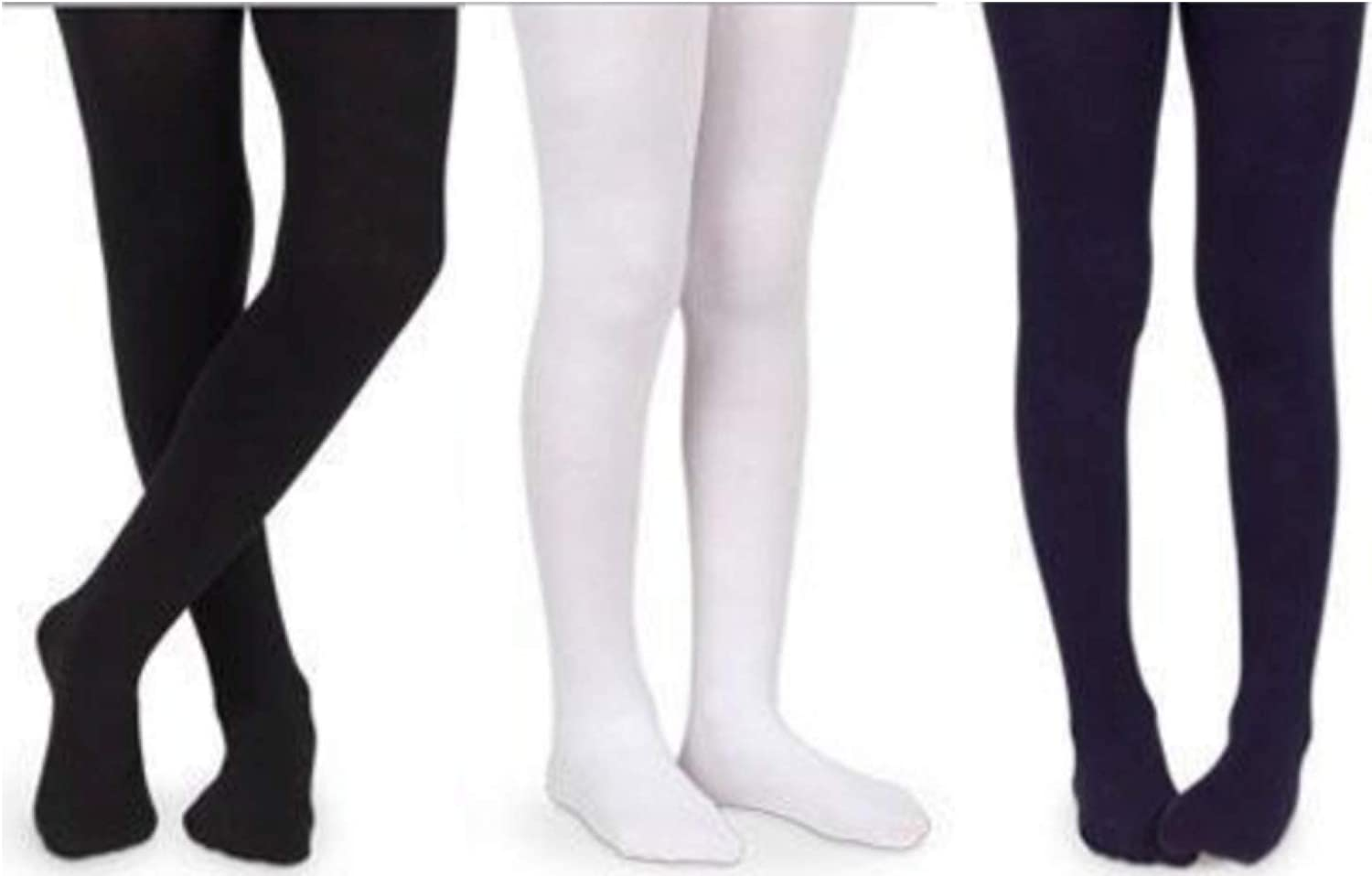 Girls' Super-Soft Effect Breathable Cotton Tights for School Uniform Pack of 3 (Navy, Black, and White) (2)