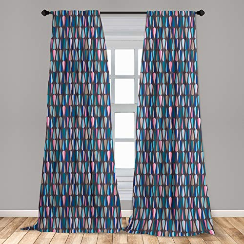 """Ambesonne Mid Century Curtains, Modern Style Retro Pattern with Droplet Shapes Mosaic in Tones, Window Treatments 2 Panel Set for Living Room Bedroom Decor, 56"""" x 95"""", Taupe Blue"""