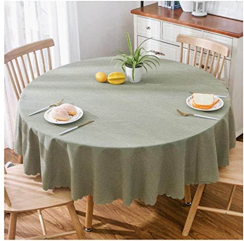 Yiiuii Gartenhaus Blau Weiß Große Runde Tischdecke Tischdecke, Grüne Kleine Karierte Baumwolle Und Leinen Runde Tischdecke Couchtisch-180Cm