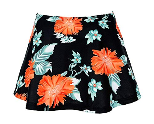 Fomini Women Bikini Short Skirt Push up High-Waisted Floral Print Bikini Bottom Black Floral SkirtXL