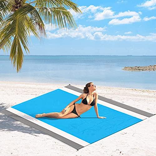 QSLS Alfombras de Playa, Manta Picnic Impermeable Manta de Playa con 4 Clavos Fijos, Alfombra de Picnic,Gray White Blue,210 * 200cm