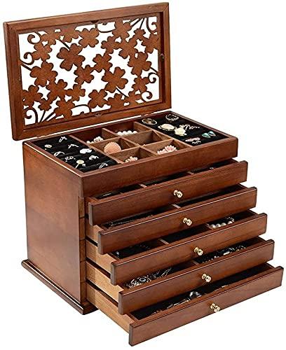YXLM Caja de joyería femenina de madera antigua estilo chino caja de almacenamiento, joyería de gran capacidad, caja cosmética, madera