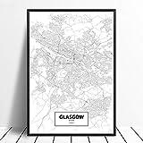 Leinwanddruck,Glasgow Schottland Schwarz Weiß