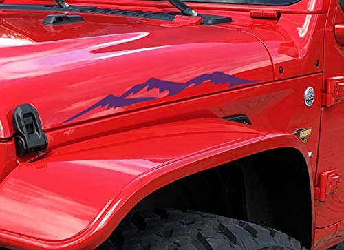 Decal for Jeep Wrangler Hood Sticker Mountains I Compatible with All Jeeps JK TJ YJ CJ or Any Truck Sedan Pair Set of 2 Purple