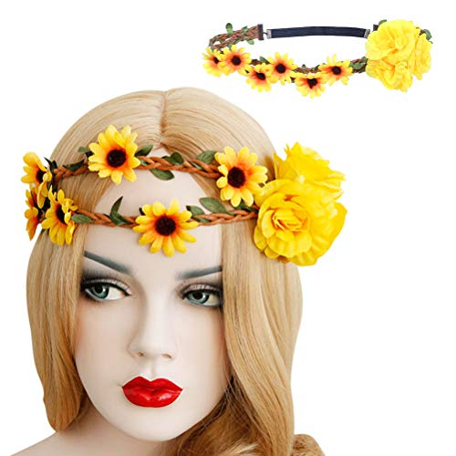 Colorful gourd Flower crown garland Headband Headdress hair Wreath Hawaiian style wedding party (sunflower)