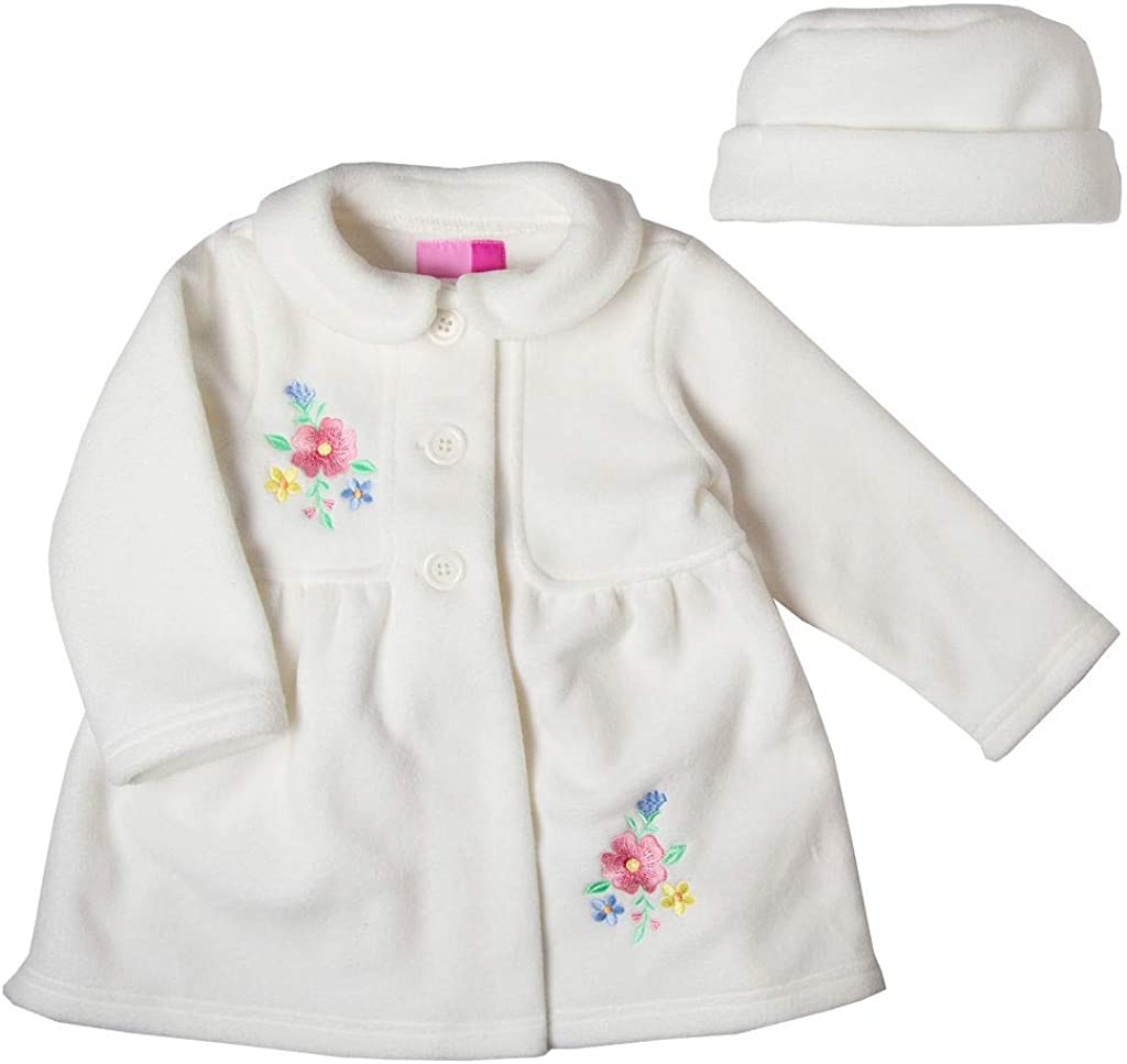 Good Lad Newborn/Infant Girls Creme Fleece Coat with Floral Embroidery and Matching Hat