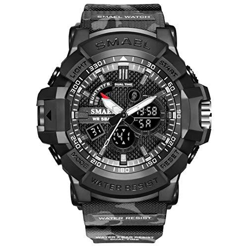 JTTM Reloj Militar para Hombre Deporte Relojes Analógico Y Digital LED Electrónico Grande Relojes Resistente Al Agua 50M,Gris
