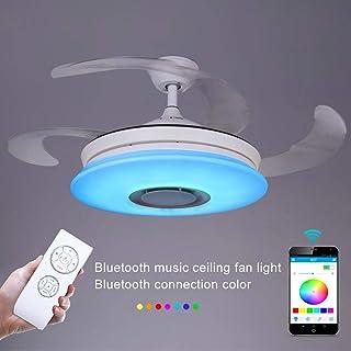 SDDS Cuchillas Retráctiles Modernas Ventilador De Techo con Luz Remote 36w, Lámpara De Techo Regulable con Altavoz Bluetooth Luz De Techo De La Música, Ventilador De Araña Plegable