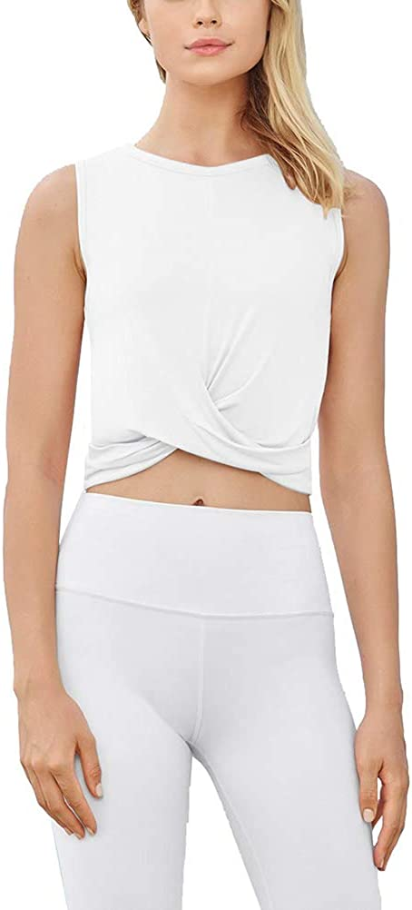 Mippo Womens Workout Crop Tops Athletic Gym Active Tank Tops Cropped Shirts