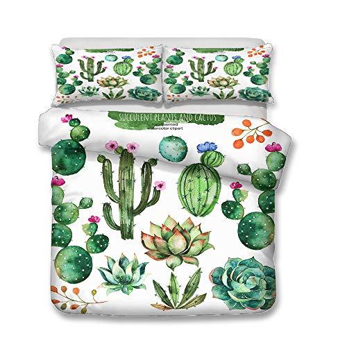 Juego de Ropa de Cama, Morbuy 3D Planta del Desierto Cactus Impresión Microfibra Juego de Fundas de Edredón Incluye Funda Nórdica y Funda de Almohada (Cama 135/140-180x220cm,Planta Suculenta)