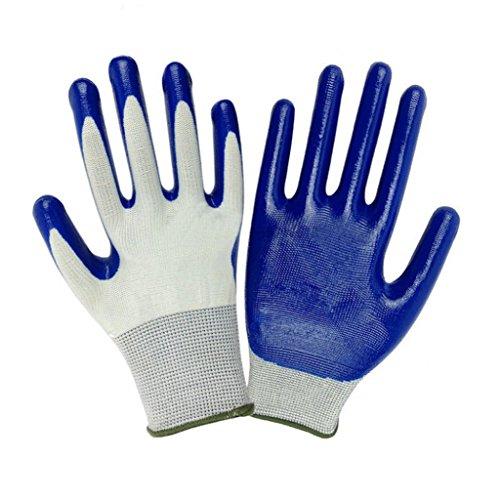 Hearsbeauty, guanti protettivida giardinaggio duraturi, impermeabili, resistenti alle spine, antiscivolo, colore blu e bianco