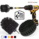 Holikme 4Pack Drill Brush Power Scrubber Cleaning Brush Extended Long Attachment Set All Purpose Drill Scrub Brushes Kit for Grout, Floor, Tub, Shower, Tile, Bathroom and Kitchen Surface Black